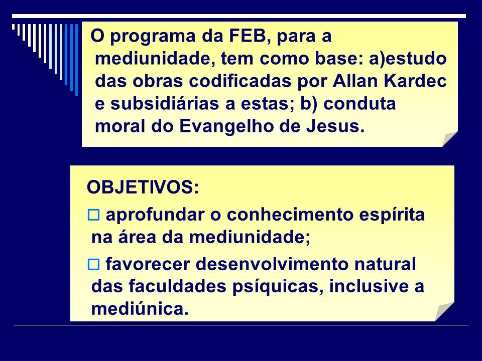 O programa da FEB, para a mediunidade, tem como base: a)estudo das obras codificadas por Allan Kardec e subsidiárias a estas; b) conduta moral do Evan