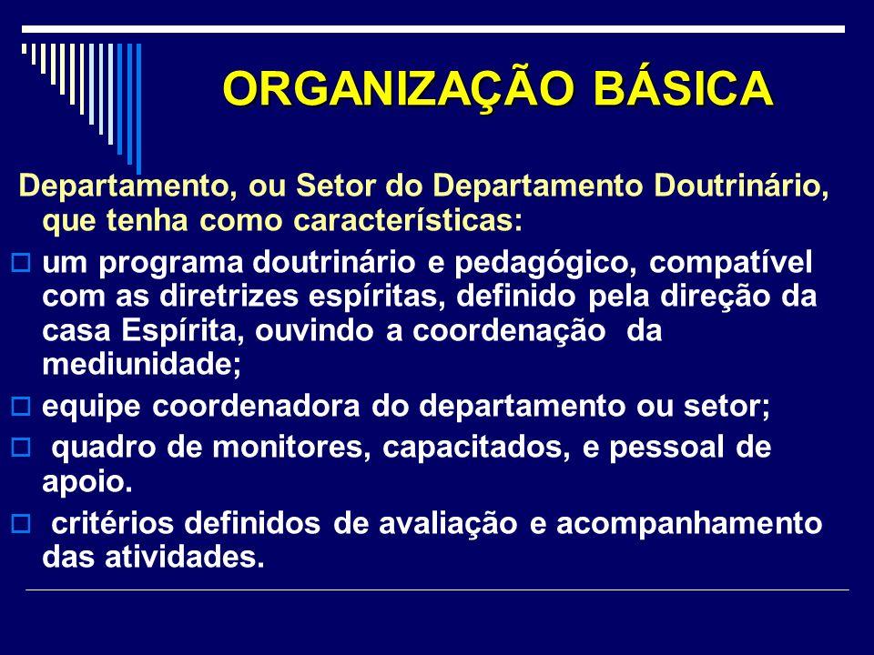 ORGANIZAÇÃO BÁSICA Departamento, ou Setor do Departamento Doutrinário, que tenha como características: um programa doutrinário e pedagógico, compatíve
