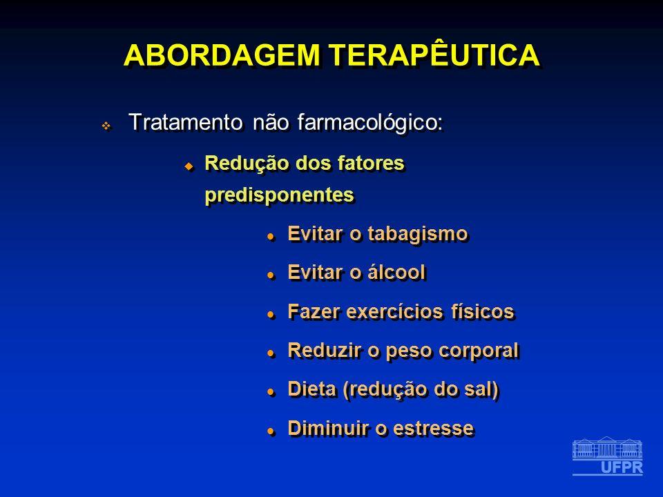 ABORDAGEM TERAPÊUTICA Tratamento não farmacológico: Redução dos fatores predisponentes Evitar o tabagismo Evitar o álcool Fazer exercícios físicos Red