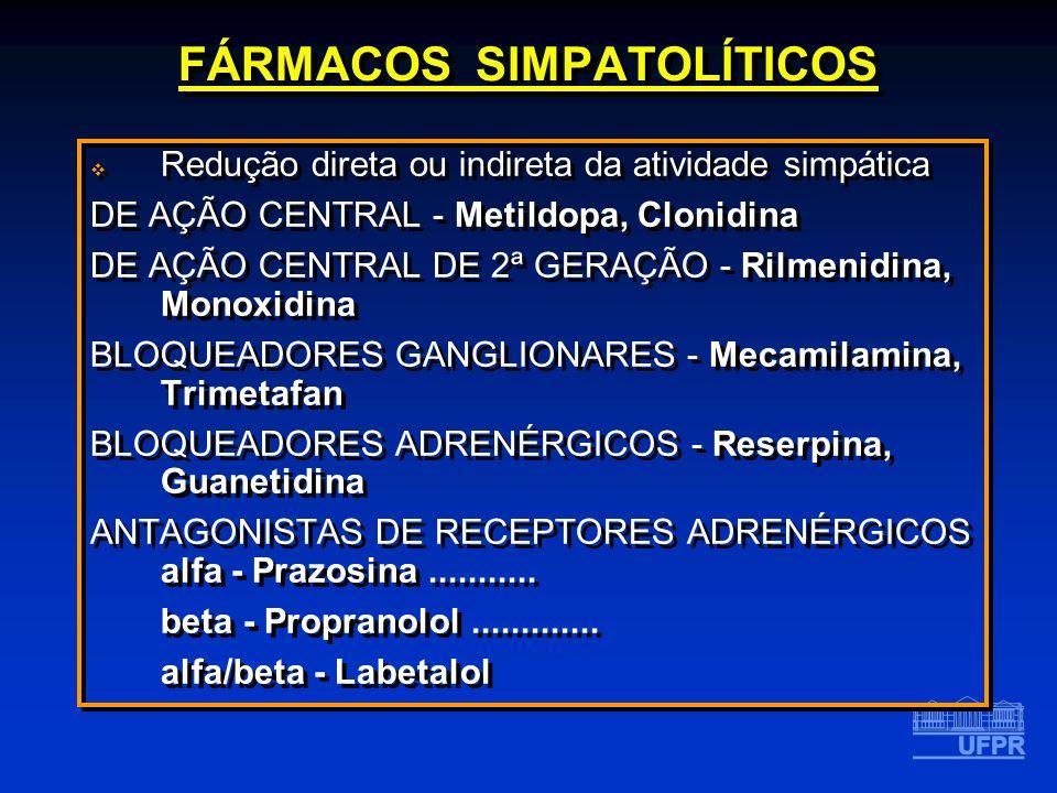 FÁRMACOS SIMPATOLÍTICOS Redução direta ou indireta da atividade simpática DE AÇÃO CENTRAL - Metildopa, Clonidina DE AÇÃO CENTRAL DE 2ª GERAÇÃO - Rilme