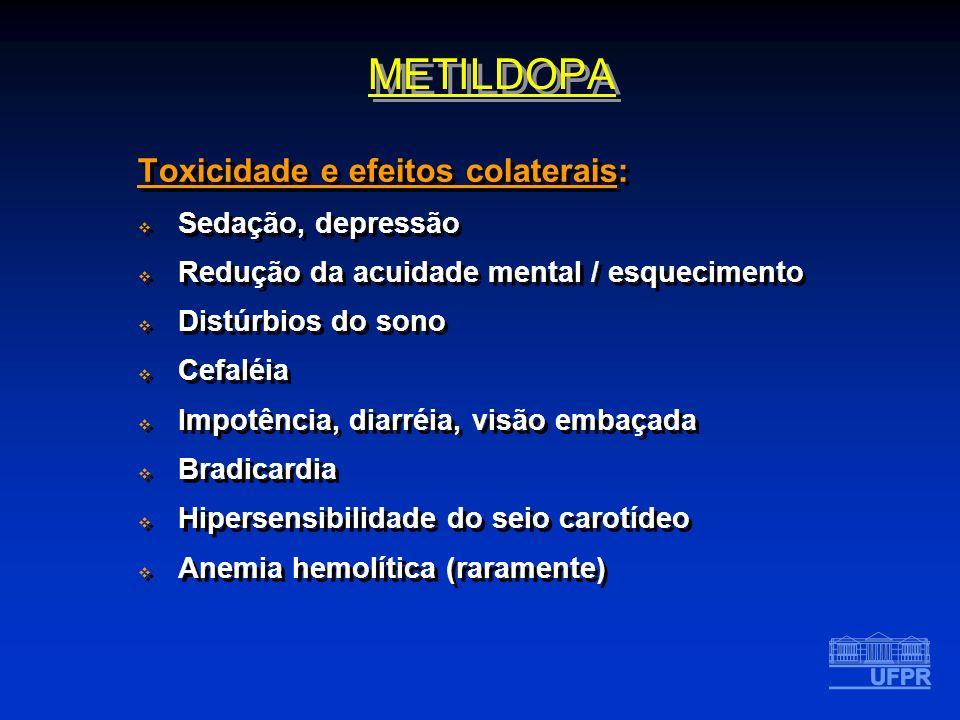 Toxicidade e efeitos colaterais: Sedação, depressão Redução da acuidade mental / esquecimento Distúrbios do sono Cefaléia Impotência, diarréia, visão