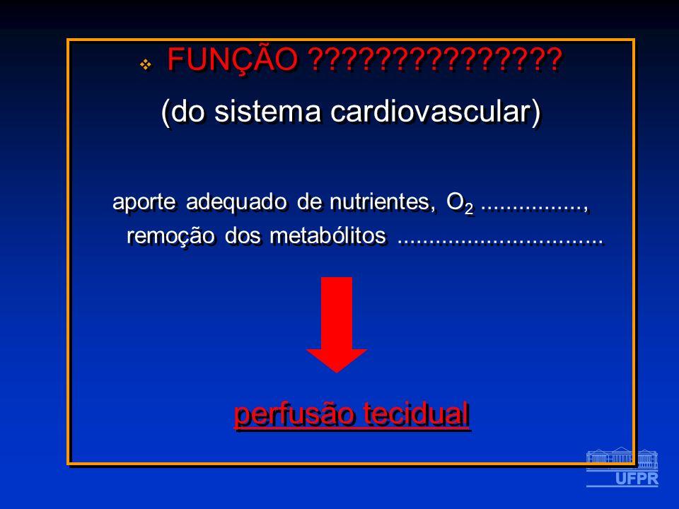 FUNÇÃO ??????????????? (do sistema cardiovascular) aporte adequado de nutrientes, O 2................, remoção dos metabólitos........................