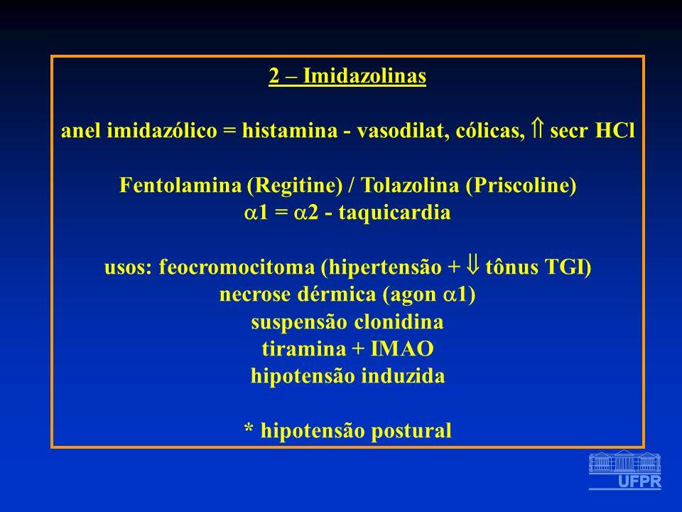 2 – Imidazolinas anel imidazólico = histamina - vasodilat, cólicas, secr HCl Fentolamina (Regitine) / Tolazolina (Priscoline) 1 = 2 - taquicardia usos