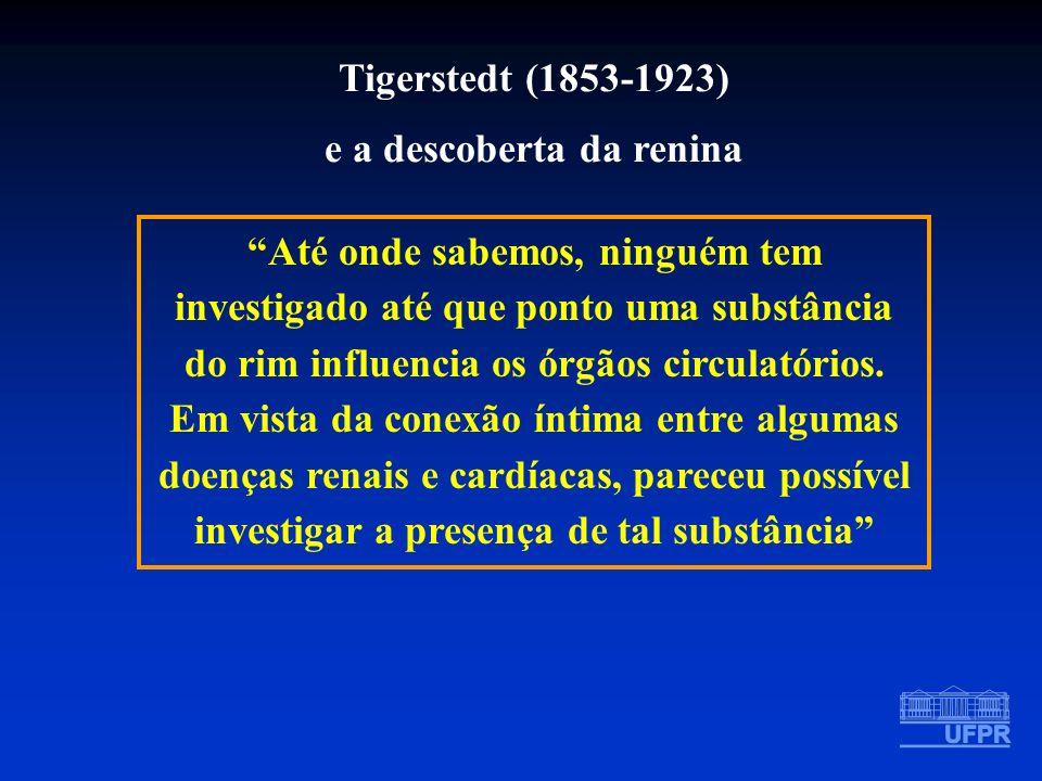 Tigerstedt (1853-1923) e a descoberta da renina Até onde sabemos, ninguém tem investigado até que ponto uma substância do rim influencia os órgãos cir