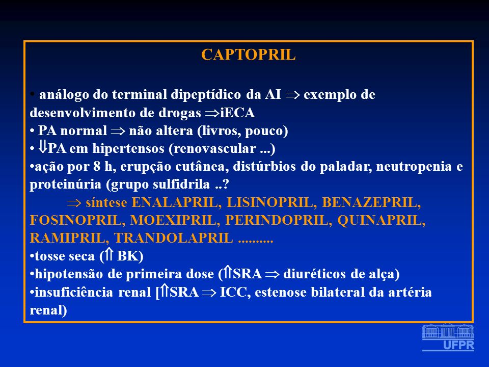 CAPTOPRIL análogo do terminal dipeptídico da AI exemplo de desenvolvimento de drogas iECA PA normal não altera (livros, pouco) PA em hipertensos (reno