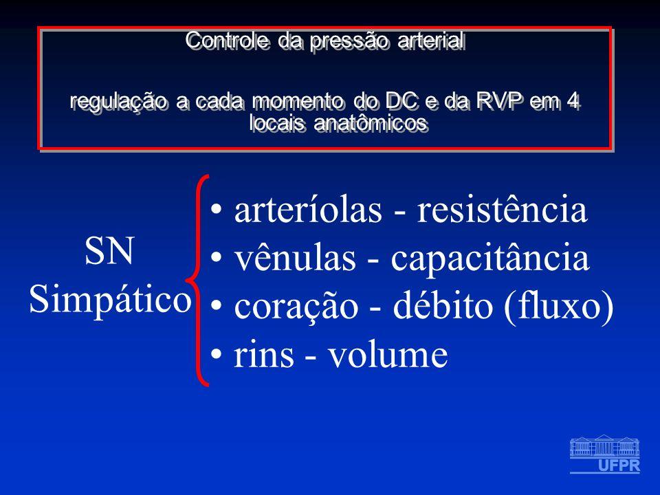 Controle da pressão arterial regulação a cada momento do DC e da RVP em 4 locais anatômicos Controle da pressão arterial regulação a cada momento do D