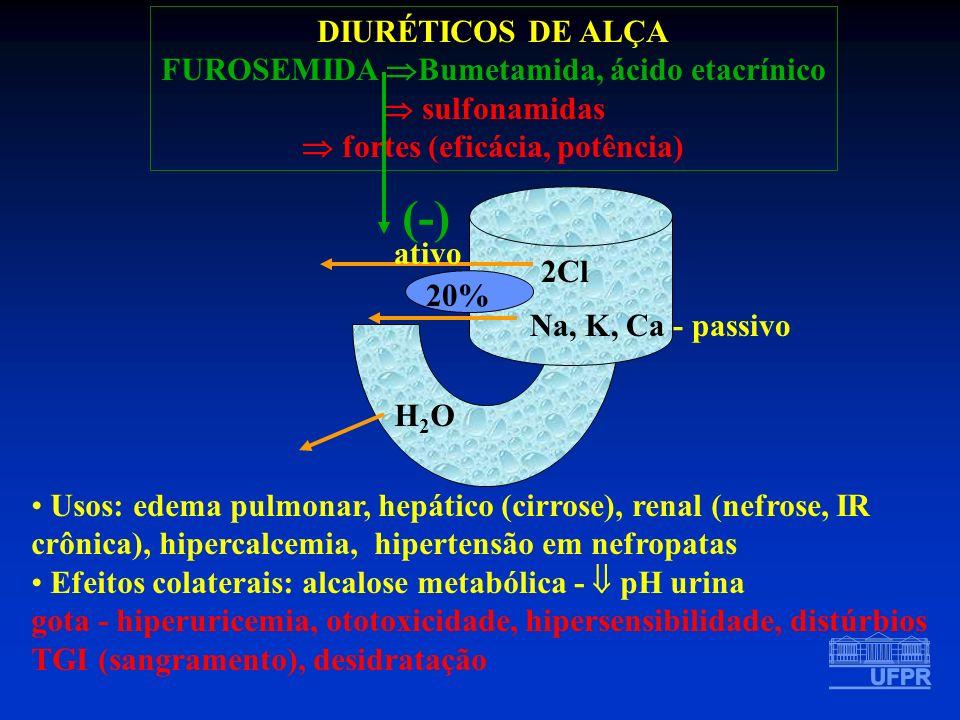H2OH2O DIURÉTICOS DE ALÇA FUROSEMIDA Bumetamida, ácido etacrínico sulfonamidas fortes (eficácia, potência) 2Cl ativo Na, K, Ca - passivo 20% (-) Usos: