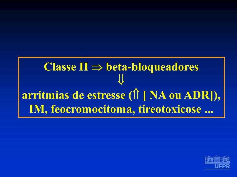 Classe II beta-bloqueadores arritmias de estresse ( [ NA ou ADR]), IM, feocromocitoma, tireotoxicose...