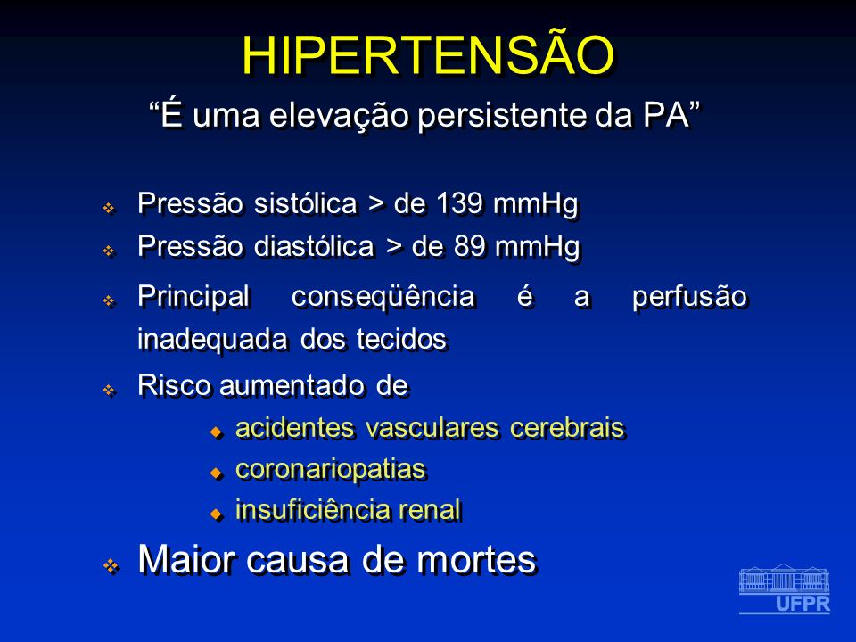 Quando tem causas específicas ( 10% casos) Hipertensão secundária Quando NÃO tem causas específicas Hipertensão primária (ou essencial) Fatores genéticos Estresse psicológico Hábitos e costumes (dieta, álcool, tabagismo) Geralmente assintomática até a lesão de órgão-alvo Quando tem causas específicas ( 10% casos) Hipertensão secundária Quando NÃO tem causas específicas Hipertensão primária (ou essencial) Fatores genéticos Estresse psicológico Hábitos e costumes (dieta, álcool, tabagismo) Geralmente assintomática até a lesão de órgão-alvo HIPERTENSÃO