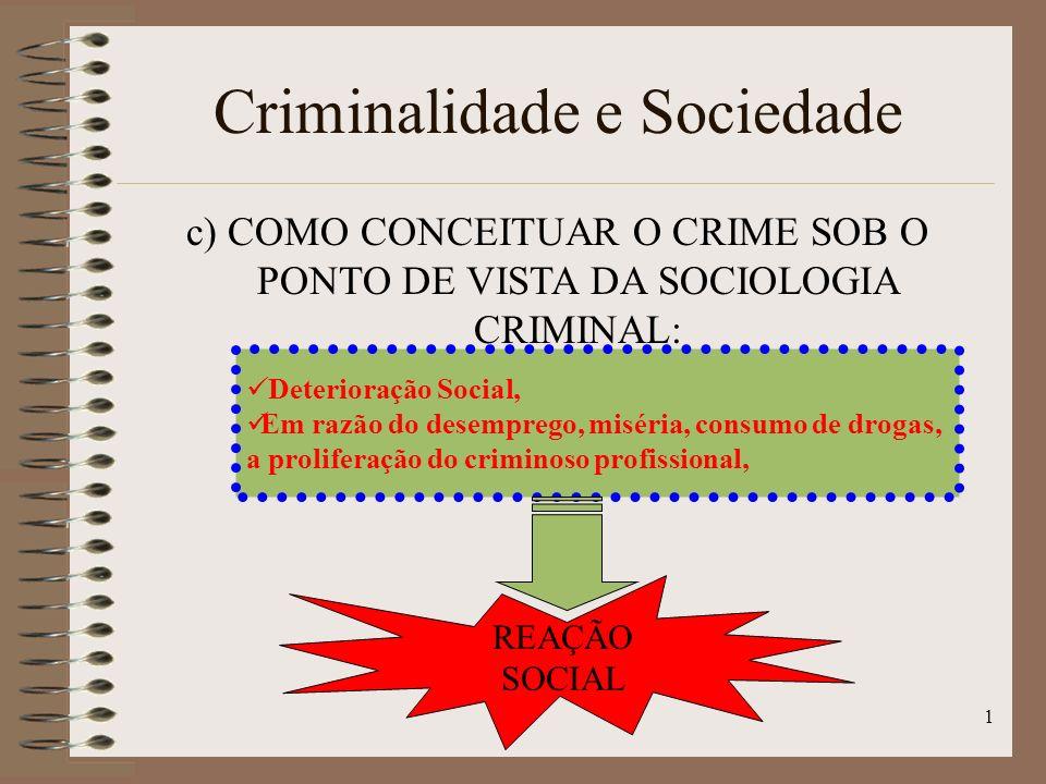 1 Criminalidade e Sociedade c) COMO CONCEITUAR O CRIME SOB O PONTO DE VISTA DA SOCIOLOGIA CRIMINAL: Deterioração Social, Em razão do desemprego, miséria, consumo de drogas, a proliferação do criminoso profissional, REAÇÃO SOCIAL
