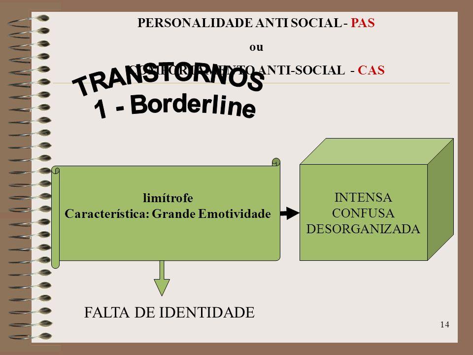 13 PERSONALIDADE ANTI SOCIAL - PAS ou COMPORTAMENTO ANTI-SOCIAL - CAS PASPAS incluem-se Prática de Criminalidade Falta de Empatia Desrespeito de Regra