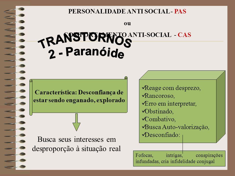 14 PERSONALIDADE ANTI SOCIAL - PAS ou COMPORTAMENTO ANTI-SOCIAL - CAS INTENSA CONFUSA DESORGANIZADA limítrofe Característica: Grande Emotividade FALTA