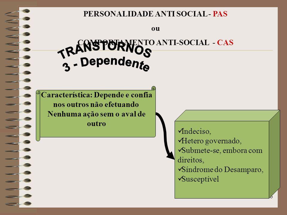 15 PERSONALIDADE ANTI SOCIAL - PAS ou COMPORTAMENTO ANTI-SOCIAL - CAS Reage com desprezo, Rancoroso, Erro em interpretar, Obstinado, Combativo, Busca