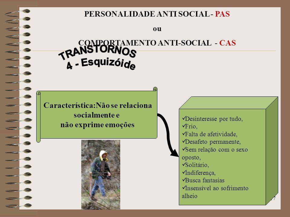 16 PERSONALIDADE ANTI SOCIAL - PAS ou COMPORTAMENTO ANTI-SOCIAL - CAS Indeciso, Hetero governado, Submete-se, embora com direitos, Síndrome do Desampa