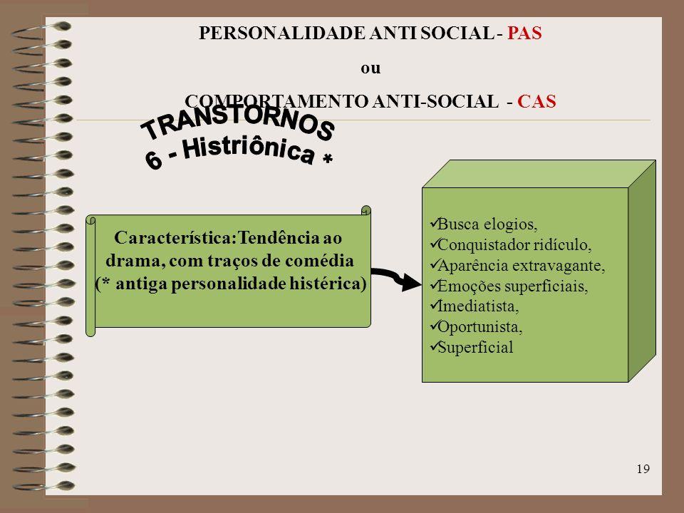 18 PERSONALIDADE ANTI SOCIAL - PAS ou COMPORTAMENTO ANTI-SOCIAL - CAS Ofende-se facilmente, Rejeita amigos e parentes próximos Desconfiado, Foge as at