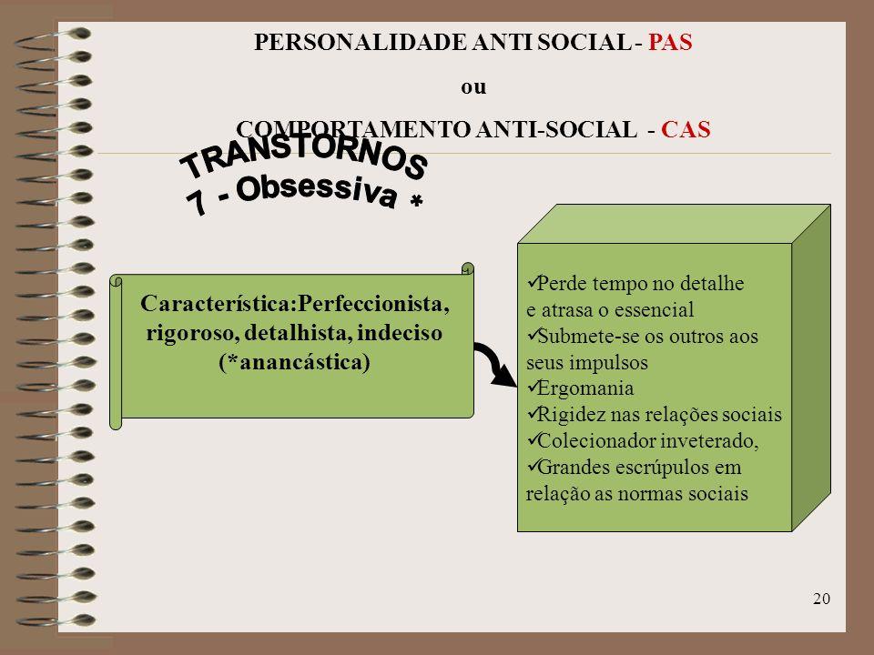 19 PERSONALIDADE ANTI SOCIAL - PAS ou COMPORTAMENTO ANTI-SOCIAL - CAS Busca elogios, Conquistador ridículo, Aparência extravagante, Emoções superficia