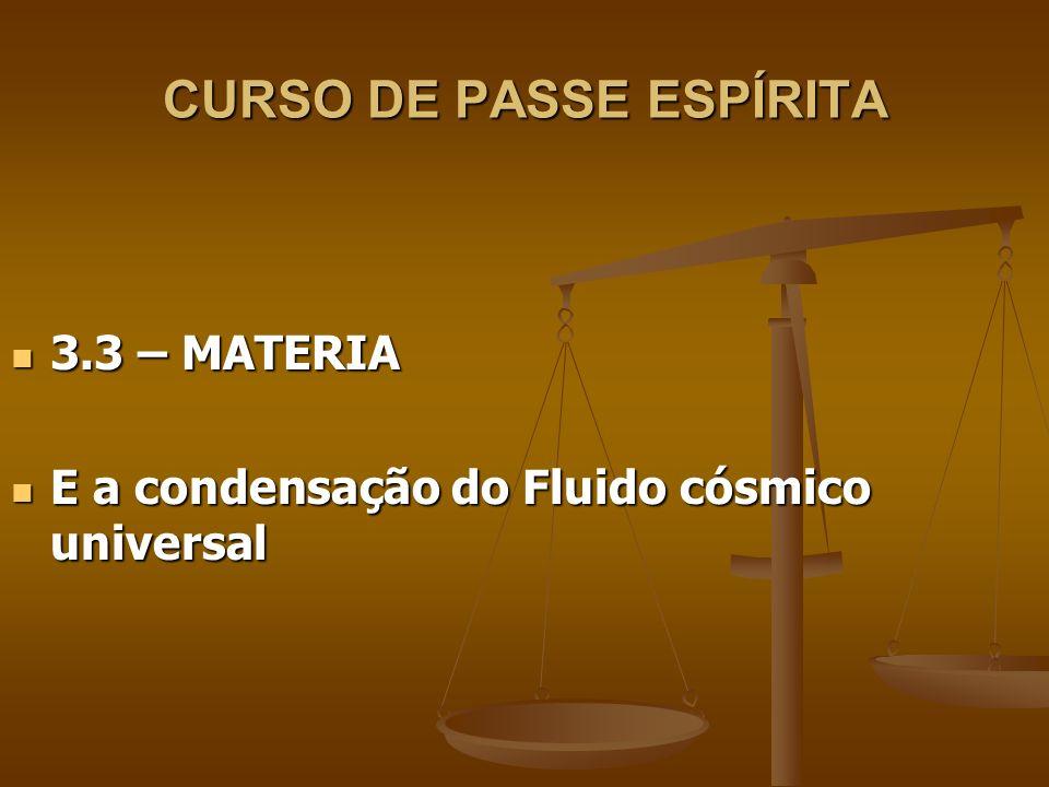 CURSO DE PASSE ESPÍRITA 3.4 - FLUIDO 3.4 - FLUIDO CONCEITO: designação genérica de gases e líquidos (Sólido-líquido- gasoso) CONCEITO: designação genérica de gases e líquidos (Sólido-líquido- gasoso) Constituição da matéria-(átomo- eletrons-neutros-protons-Leptons- quarks-top quarks, Bósons, Neutrinos...) Constituição da matéria-(átomo- eletrons-neutros-protons-Leptons- quarks-top quarks, Bósons, Neutrinos...)