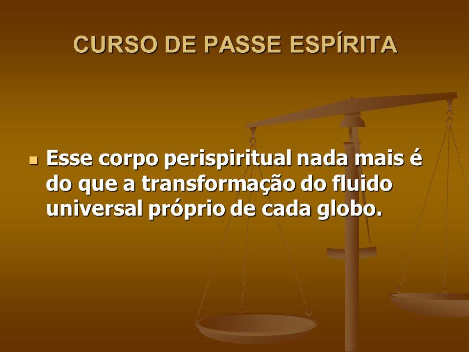 CURSO DE PASSE ESPÍRITA O perispírito (semi-material) faz a ligação entre o Espírito (imaterial) e o corpo (material).