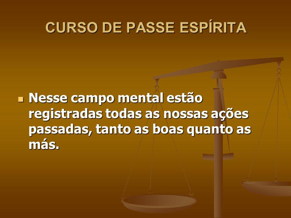 CURSO DE PASSE ESPÍRITA Nesse sentido, todos os excessos que cometermos nesta existência poderá danificar esse campo mental.