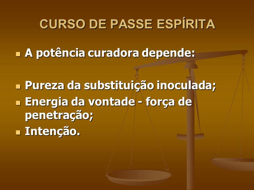 CURSO DE PASSE ESPÍRITA Efeitos: Efeitos: Lento - tratamento continuado; Lento - tratamento continuado; Rápido - cura instantânea.