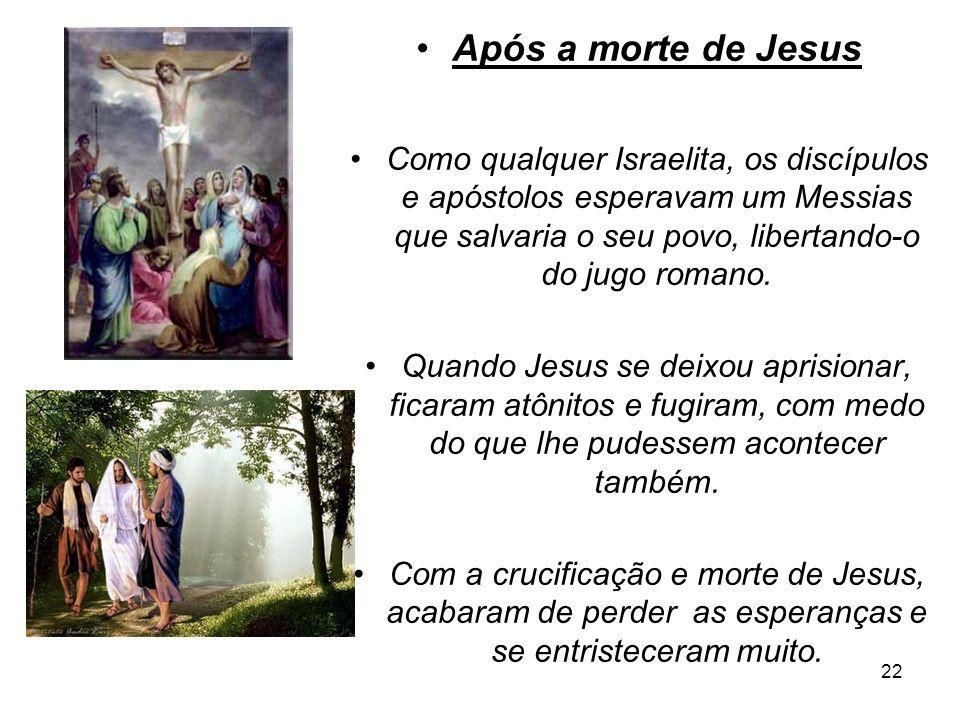 22 Após a morte de Jesus Como qualquer Israelita, os discípulos e apóstolos esperavam um Messias que salvaria o seu povo, libertando-o do jugo romano.