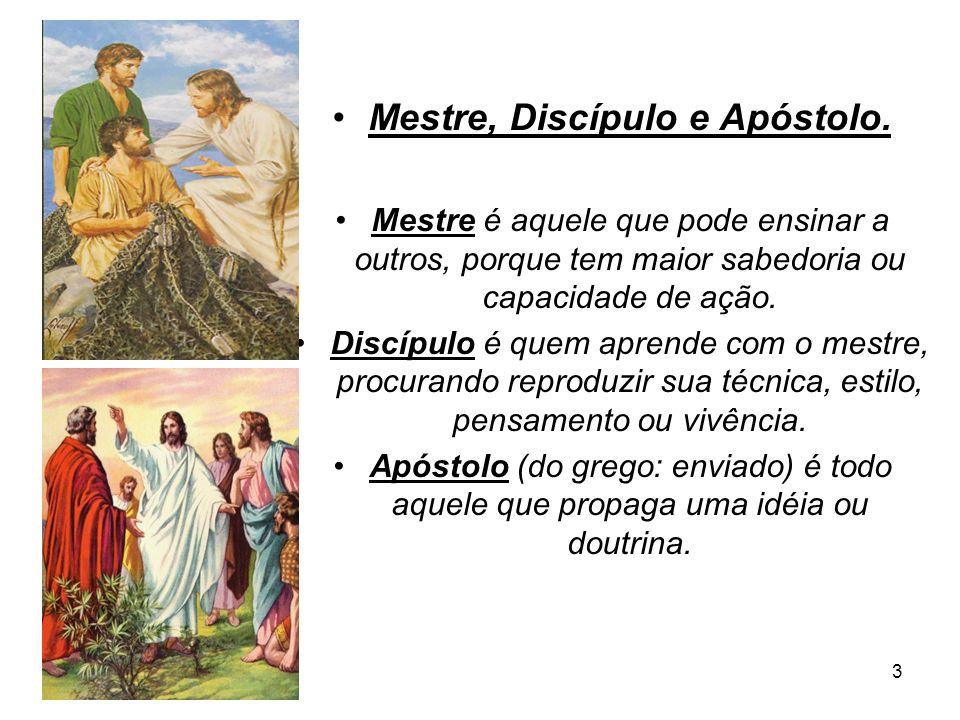 3 Mestre, Discípulo e Apóstolo. Mestre é aquele que pode ensinar a outros, porque tem maior sabedoria ou capacidade de ação. Discípulo é quem aprende