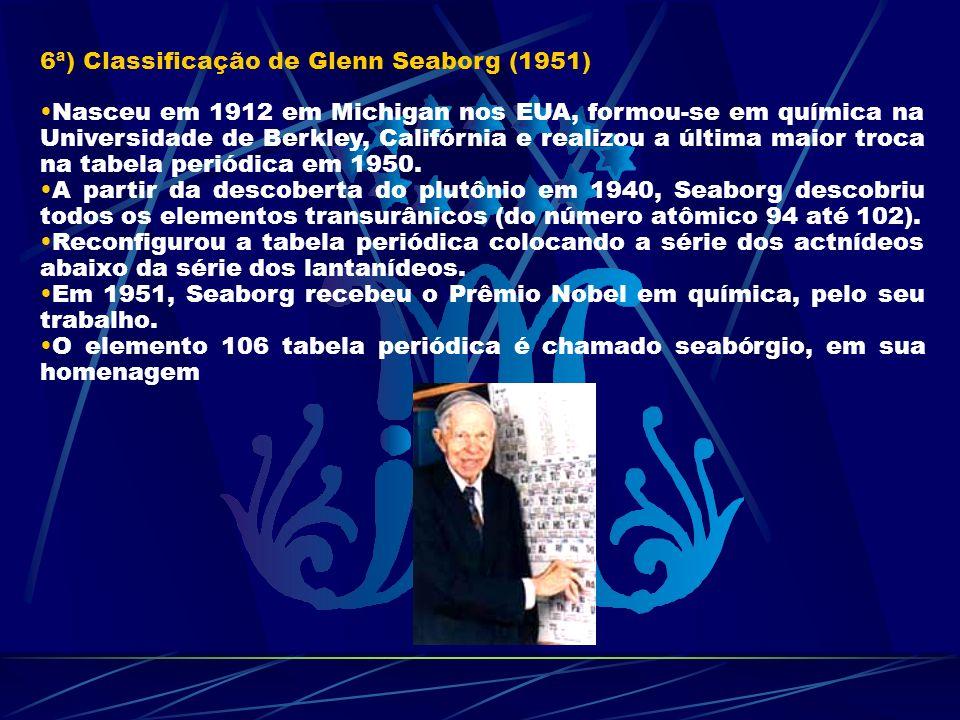 6ª) Classificação de Glenn Seaborg (1951) Nasceu em 1912 em Michigan nos EUA, formou-se em química na Universidade de Berkley, Califórnia e realizou a