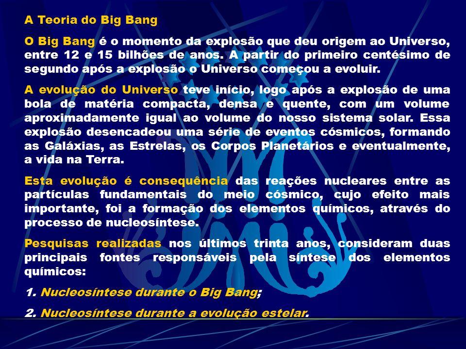 A Teoria do Big Bang O Big Bang é o momento da explosão que deu origem ao Universo, entre 12 e 15 bilhões de anos. A partir do primeiro centésimo de s