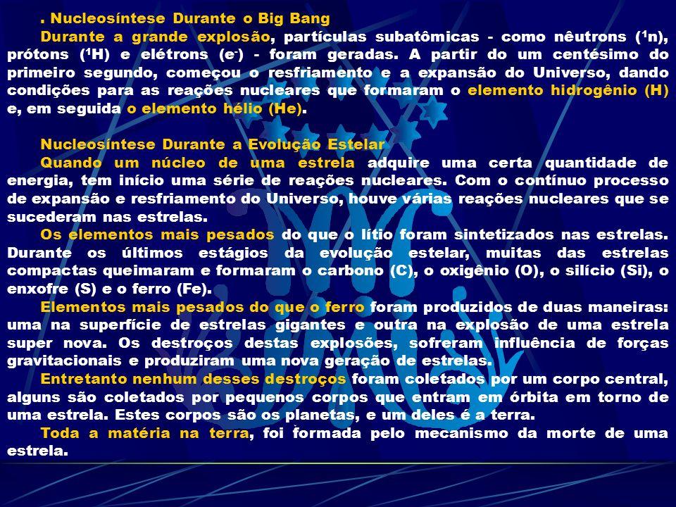 . Nucleosíntese Durante o Big Bang Durante a grande explosão, partículas subatômicas - como nêutrons ( 1 n), prótons ( 1 H) e elétrons (e - ) - foram