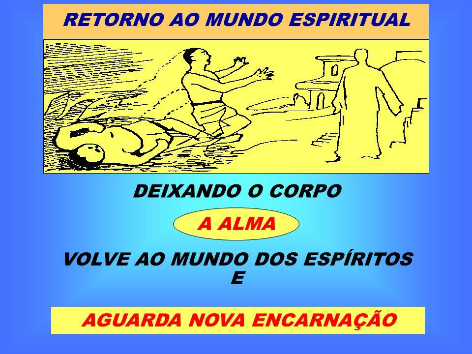 RETORNO AO MUNDO ESPIRITUAL DEIXANDO O CORPO A ALMA VOLVE AO MUNDO DOS ESPÍRITOS E AGUARDA NOVA ENCARNAÇÃO