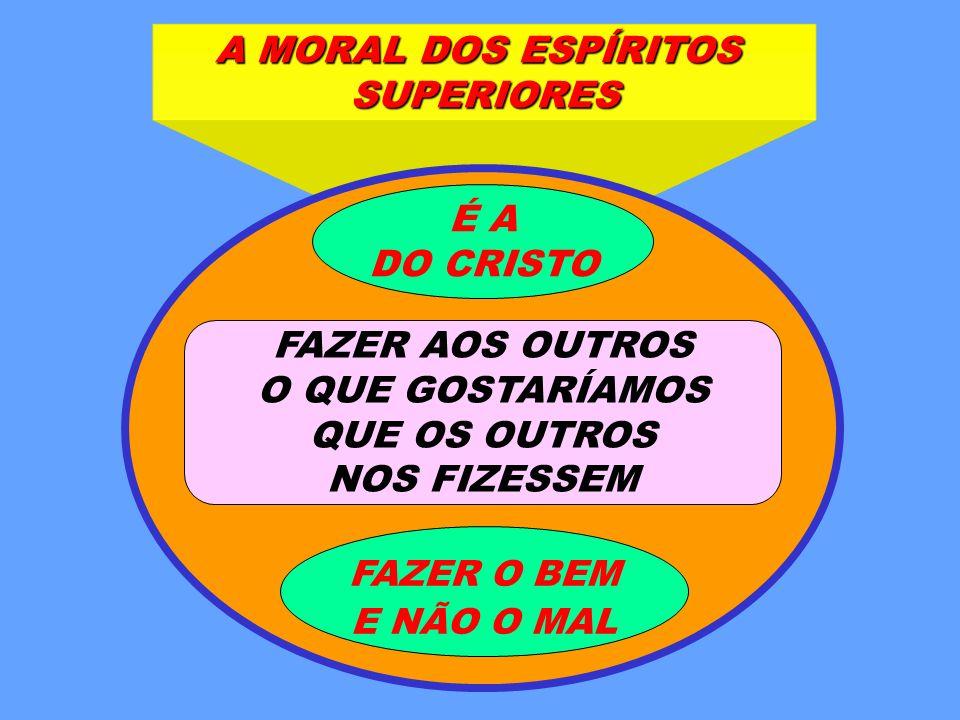 A MORAL DOS ESPÍRITOS SUPERIORES FAZER AOS OUTROS O QUE GOSTARÍAMOS QUE OS OUTROS NOS FIZESSEM FAZER O BEM E NÃO O MAL É A DO CRISTO