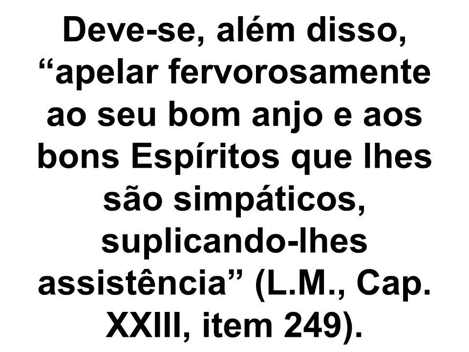 Deve-se, além disso, apelar fervorosamente ao seu bom anjo e aos bons Espíritos que lhes são simpáticos, suplicando-lhes assistência (L.M., Cap. XXIII