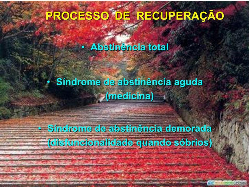 PROCESSO DE RECUPERAÇÃO Abstinência totalAbstinência total Síndrome de abstinência aguda (medicina)Síndrome de abstinência aguda (medicina) Síndrome d