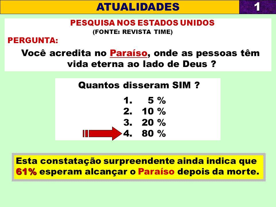 PESQUISA NOS ESTADOS UNIDOS (FONTE: REVISTA TIME) PERGUNTA: Você acredita no Paraíso, onde as pessoas têm vida eterna ao lado de Deus ? Quantos disser