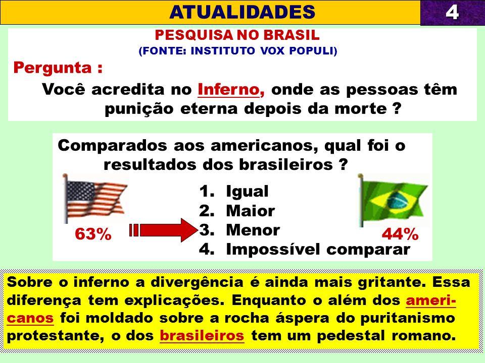 Comparados aos americanos, qual foi o resultados dos brasileiros ? 1. Igual 2. Maior 3. Menor 4. Impossível comparar PESQUISA NO BRASIL (FONTE: INSTIT