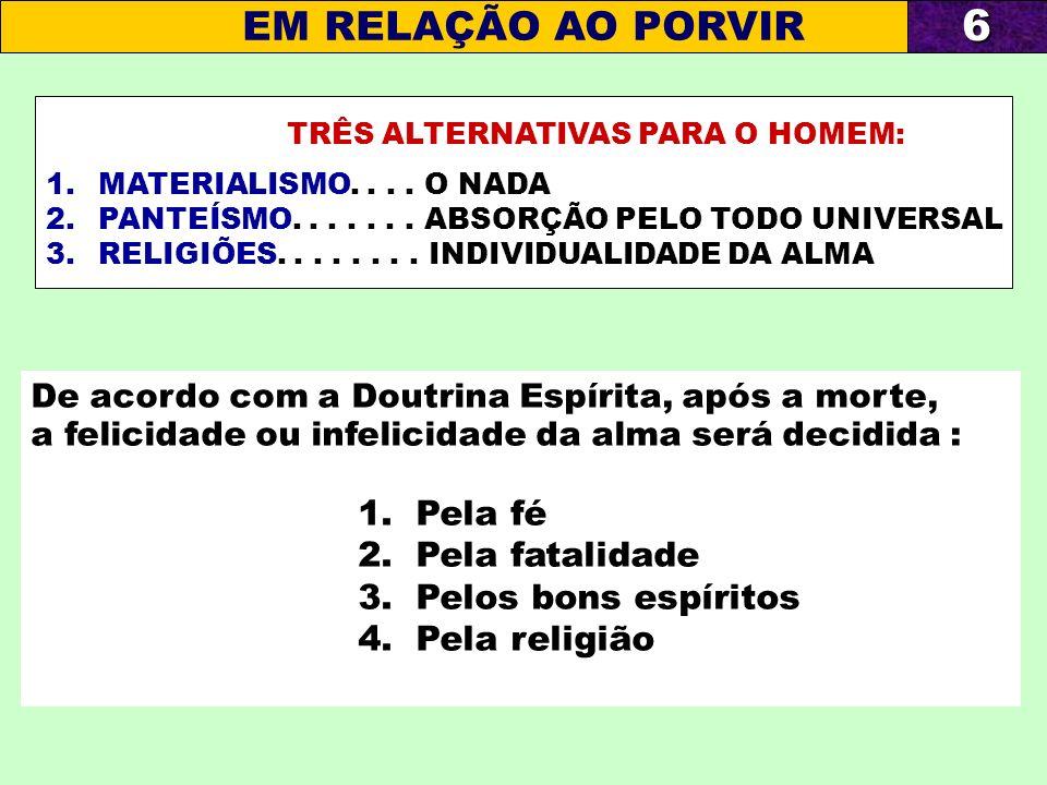 TRÊS ALTERNATIVAS PARA O HOMEM: 1.MATERIALISMO.... O NADA 2.PANTEÍSMO....... ABSORÇÃO PELO TODO UNIVERSAL 3.RELIGIÕES........ INDIVIDUALIDADE DA ALMA