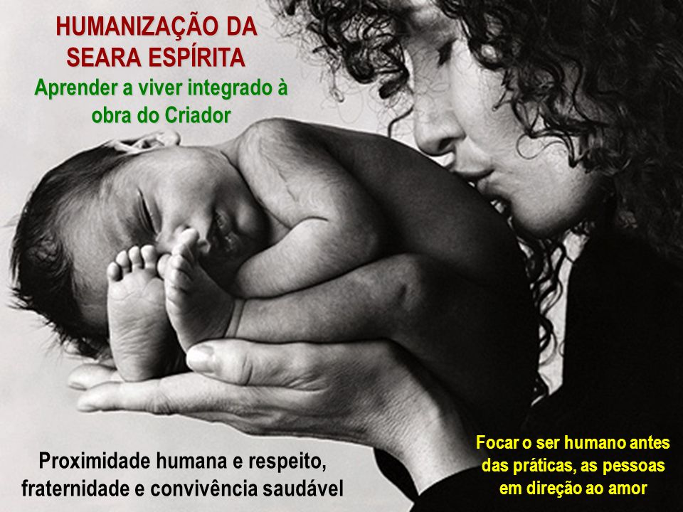HUMANIZAÇÃO DA SEARA ESPÍRITA Aprender a viver integrado à obra do Criador Proximidade humana e respeito, fraternidade e convivência saudável Focar o