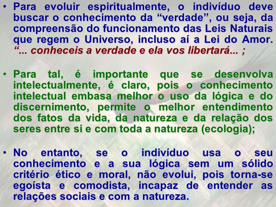 Para evoluir espiritualmente, o indivíduo deve buscar o conhecimento da verdade, ou seja, da compreensão do funcionamento das Leis Naturais que regem