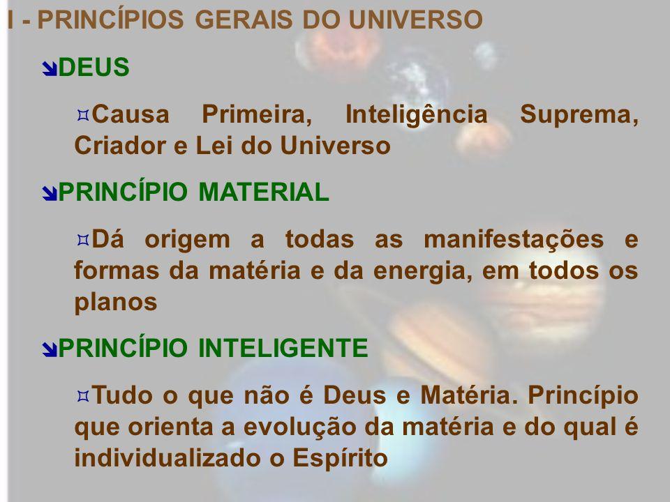 I - PRINCÍPIOS GERAIS DO UNIVERSO DEUS Causa Primeira, Inteligência Suprema, Criador e Lei do Universo PRINCÍPIO MATERIAL Dá origem a todas as manifes