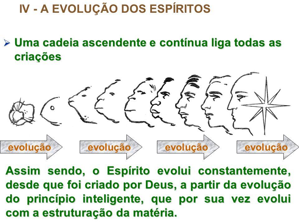 IV - A EVOLUÇÃO DOS ESPÍRITOS Uma cadeia ascendente e contínua liga todas as criações Uma cadeia ascendente e contínua liga todas as criações evolução