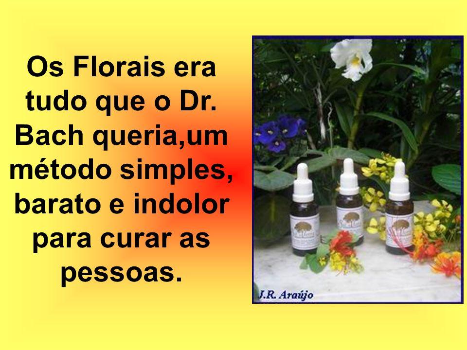 Os Florais era tudo que o Dr. Bach queria,um método simples, barato e indolor para curar as pessoas.