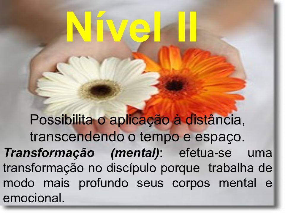 Nível II Possibilita o aplicação à distância, transcendendo o tempo e espaço. Transformação (mental): efetua-se uma transformação no discípulo porque