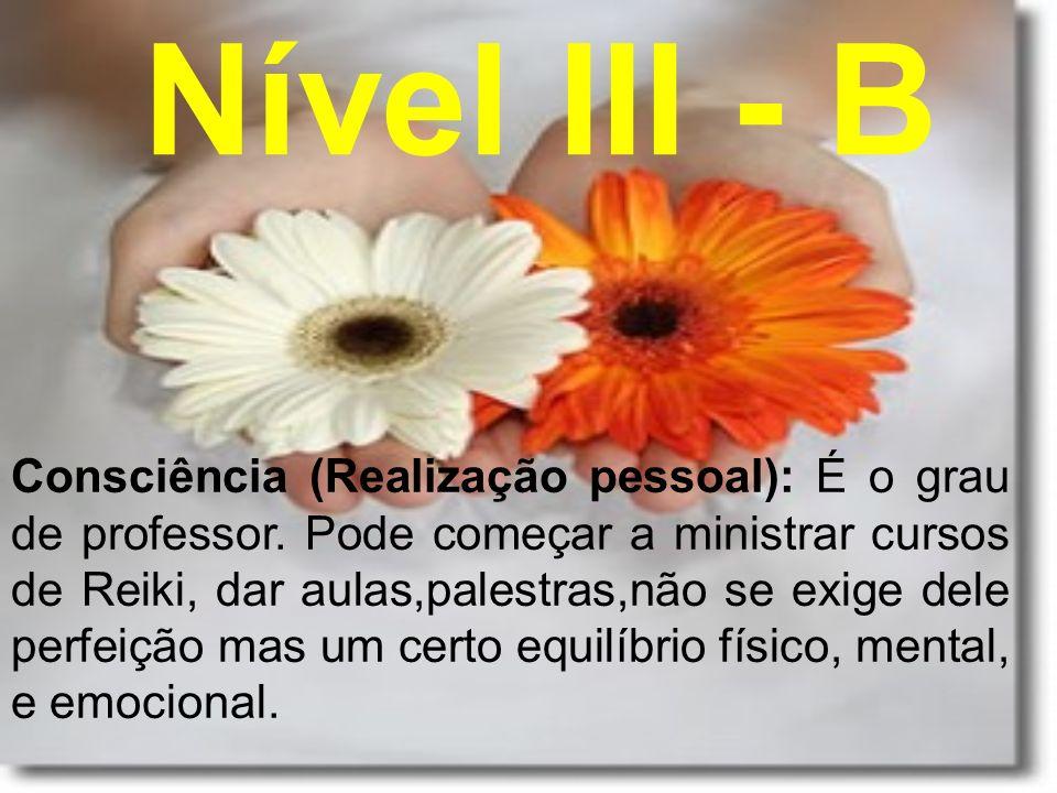 Nível III - B Consciência (Realização pessoal): É o grau de professor. Pode começar a ministrar cursos de Reiki, dar aulas,palestras,não se exige dele