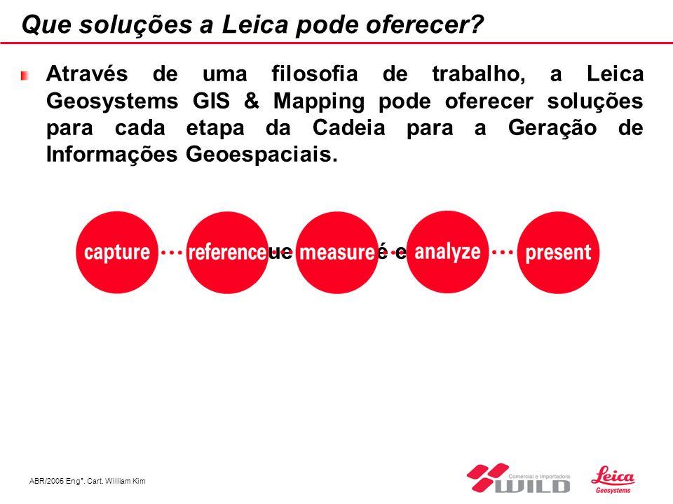 ABR/2005 Eng°. Cart. William Kim Que soluções a Leica pode oferecer? Através de uma filosofia de trabalho, a Leica Geosystems GIS & Mapping pode ofere