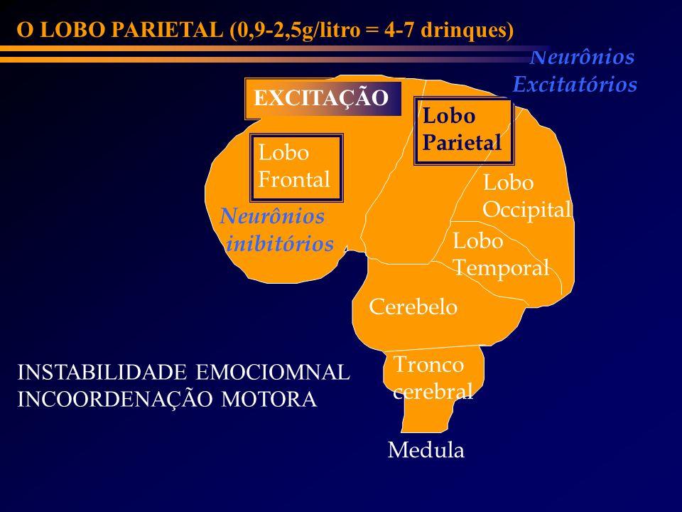 Lobo Frontal Cerebelo Lobo Parietal Lobo Occipital Lobo Temporal Neurônios inibitórios Neurônios Excitatórios O LOBO PARIETAL (0,9-2,5g/litro = 4-7 dr