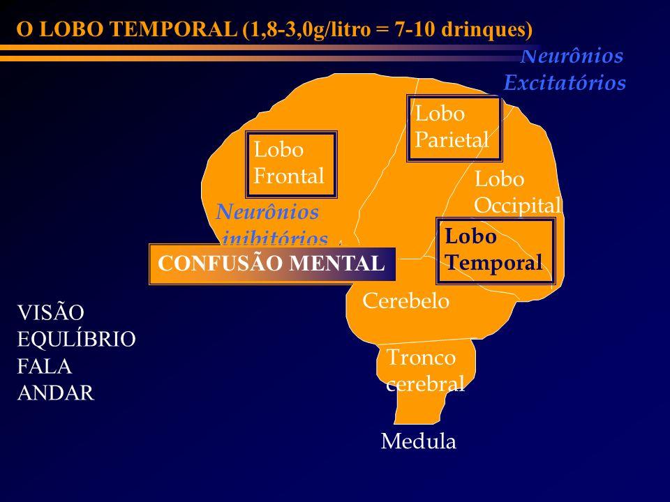 Lobo Frontal Cerebelo Lobo Parietal Lobo Occipital Lobo Temporal Neurônios inibitórios Neurônios Excitatórios O LOBO TEMPORAL (1,8-3,0g/litro = 7-10 d