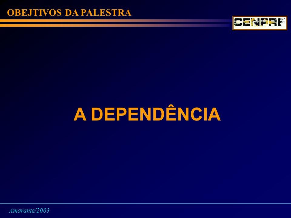 OBEJTIVOS DA PALESTRA A DEPENDÊNCIA Amarante/2003