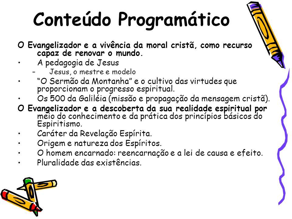 Conteúdo Programático O Evangelizador e a vivência da moral cristã, como recurso capaz de renovar o mundo. A pedagogia de Jesus –Jesus, o mestre e mod