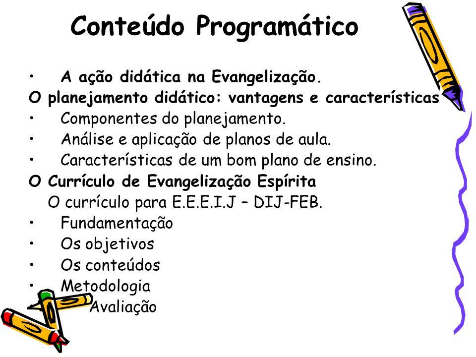 Conteúdo Programático A ação didática na Evangelização. O planejamento didático: vantagens e características Componentes do planejamento. Análise e ap
