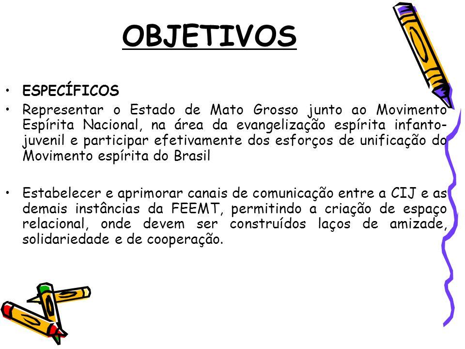 OBJETIVOS ESPECÍFICOS Representar o Estado de Mato Grosso junto ao Movimento Espírita Nacional, na área da evangelização espírita infanto- juvenil e p